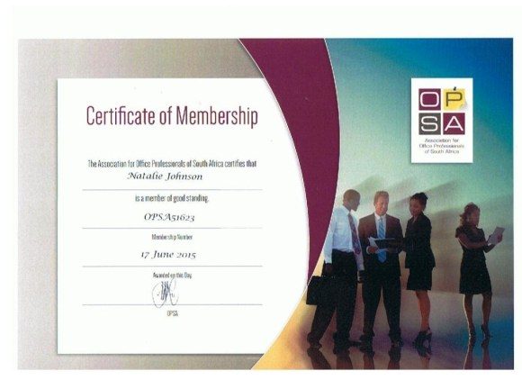 Certificate_Assoc for Office Professionals of SA (OPSA)