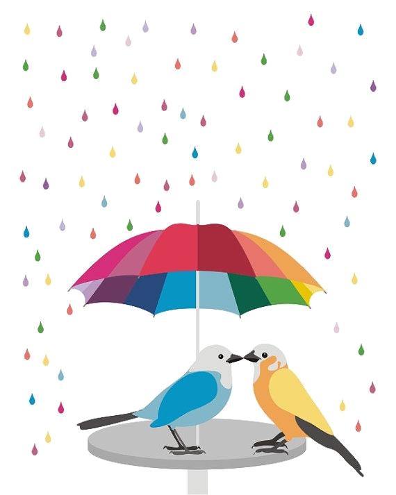 Birds under umbrella (raining)
