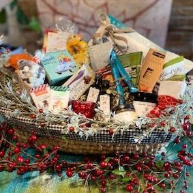 A giant holiday gift basket for virtual team party