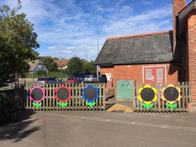 Colourful chalk boards