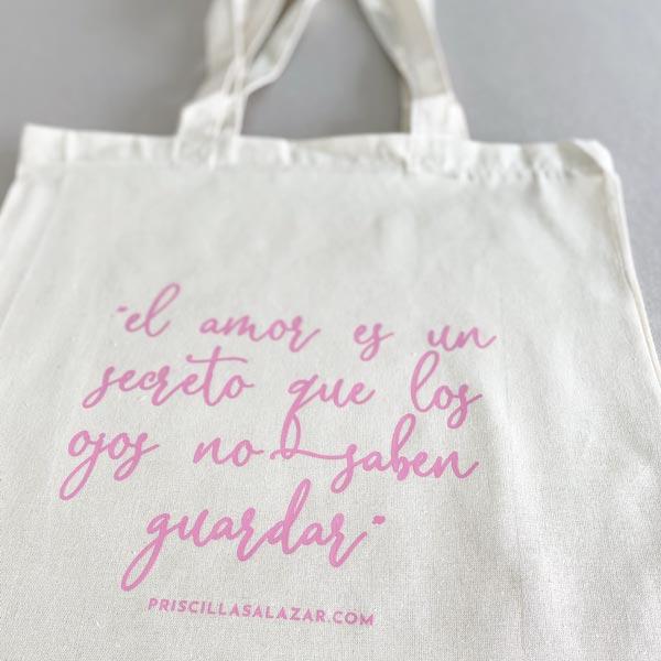 Bolsa de tela 100% algodón con frase motivadora el amor es un secreto detalles de boda