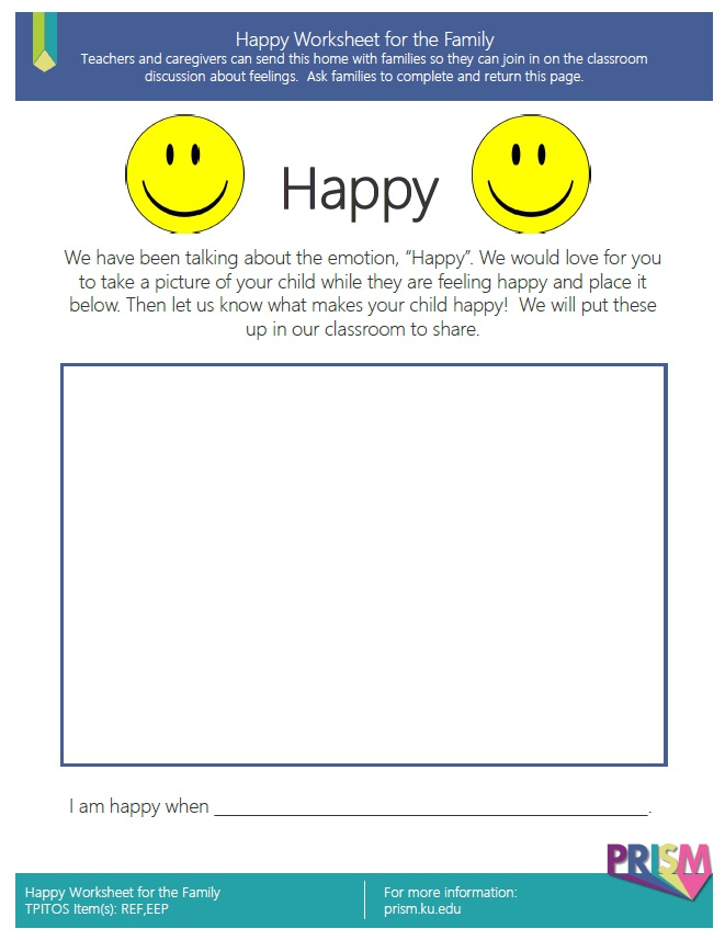 Happy Worksheet For The Family