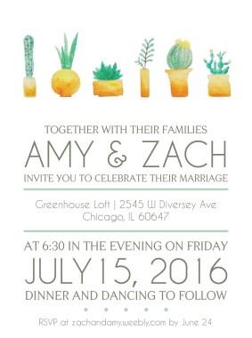 Wedding Invitation - watercolor painted succulents, digital rendering of typography