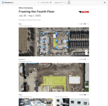 Enhanced Progress Reports allow you to give team members a full view of a project with visual media including maps, panos, videos, and photos.