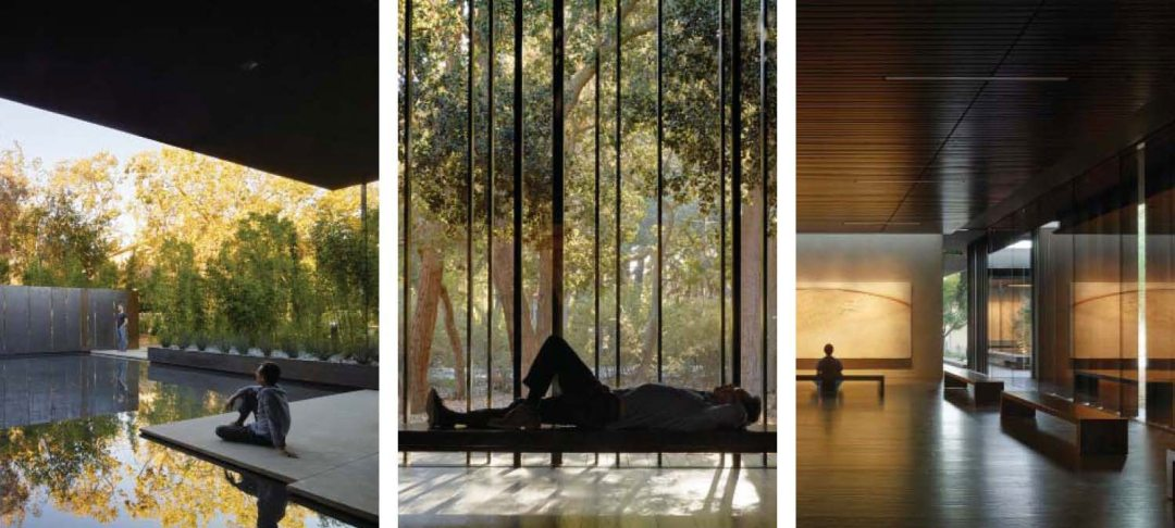 Left: A reflection pool at the southern end of the building offers outdoor meditation and contemplation. P1 P2 P4 P5. Center: Dynamic and diffuse light bounces off vertical louvers onto wood flooring and matching benches. The dark finishes emphasize the light and shadow. P1 P3 P6 P8 P9. Right: The interior finishes use dark woods and dynamic light to create drama and a sense of shelter, while playing off the color palette of the Windhover series. P6 P9 P11 P12. All Photos: Courtesy of Aidlin Darling Design/Photographer: © Matthew Millman Photography