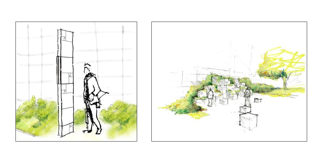 Conceptual sketches of wayfinding signage and Innovators Walk of Fame blocks inspired by the proportions of the Golden Section. Image Credits: Ex;it