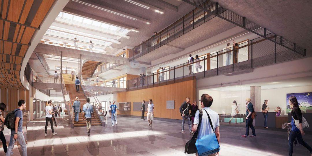 Rendering of the central atrium at CSE2. University of Washington. Courtesy of LMN Architects