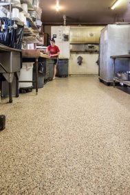 The end result is a seamless floor with a visually appealing finish that can handle the daily demands of a commercial bakery. Courtesy of Covestro LLC.