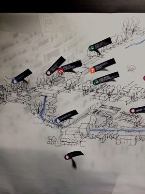 Designing the Millvale Ecodistrict at a community meeting. Photo credit: evolveEA