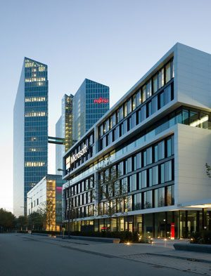 The Microsoft Germany headquarters in Parkstadt Schwabing in the north of Munich. The building is enveloped in Corian® design surface and features an unusual depth when illuminated by the sun. Design: GSP Architekten Munich, photos: Andreas Frisch, GSP Architekten, all rights reserved.
