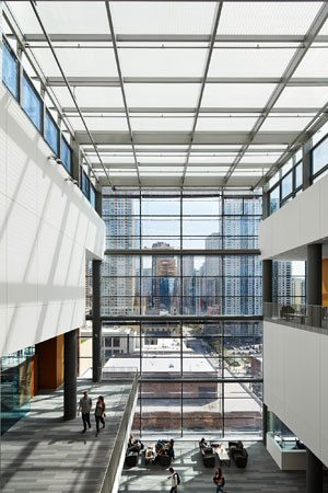 Schreiber Center at Loyola University Chicago –The raised glass roof of the LEED Gold building's multi-story atrium aids natural ventilation through stack effect, and windows at the top are oriented to take advantage of prevailing winds.