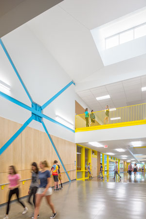 """The New Middle School at Beaverton School District contains seismic bracing designed to withstand a major earthquake. One of those steel x-braces was left exposed, to allow students to learn how the building is engineered to withstand an earthquake."" Credit: © Josh Partee"