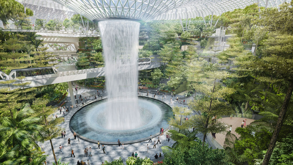 Jewel Changi Airport's magnificent Forest Valley. Courtesy of Jewel Changi Airport Development