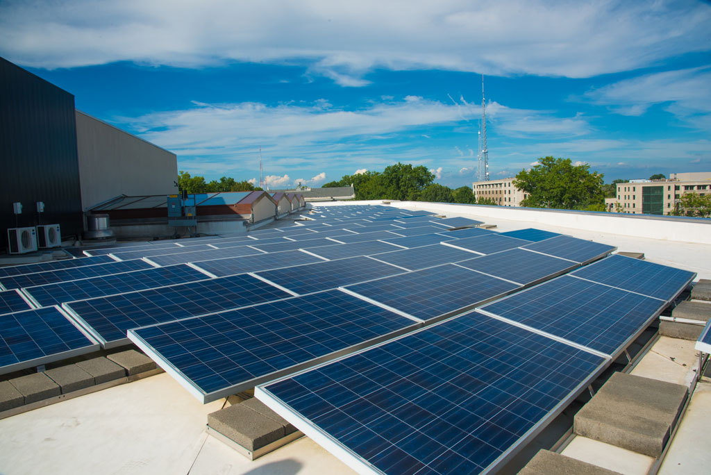 Solar photovoltaic panels, solar thermal panels, and a passive solar wall are all found on the roof of the LEED Gold certified School of International Service. Courtesy American University, by Jeff Watts