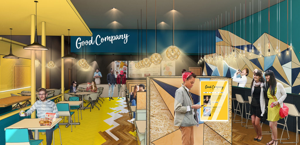 Sherwin-Williams Student Design Challenge first place winner in the commercial category: Rose Phillips of Ohio State University for versatile restaurant design featuring geometric patterns.