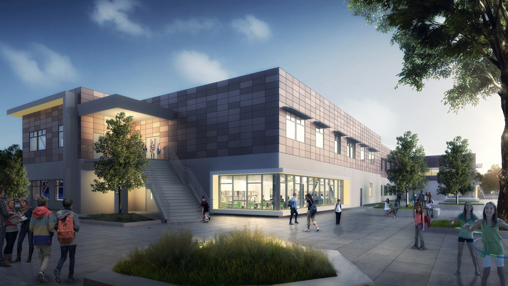 Rendering of Horner Middle School, Fremont, Calif. Courtesy SVA Architects, Inc.