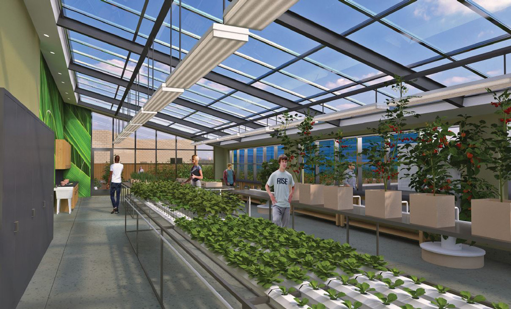 Outdoor features include a hydroponic rooftop garden where students will grow food to be used in the culinary kitchen lab.