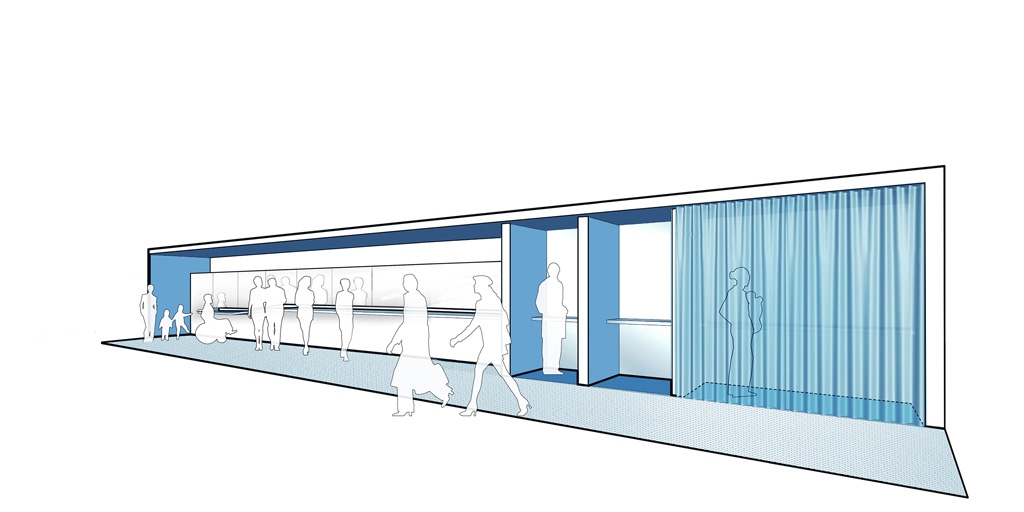 The grooming station features a multi-level counter that serves people of different heights and abilities. Those who want privacy can retreat into curtained alcoves for breastfeeding, administering medical procedures such as insulin injections, meditation and prayer. Image courtesy of JSA (Joel Sanders Architect) and Brenna Thompson (Yale School of Architecture)