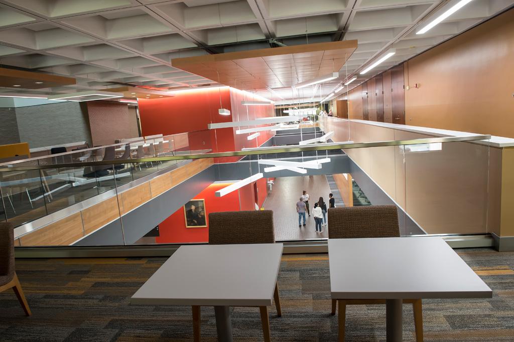 New study spaces have been added along Posvar Hall's main corridor. Photo: Aimee Obidzinski/University of Pittsburgh