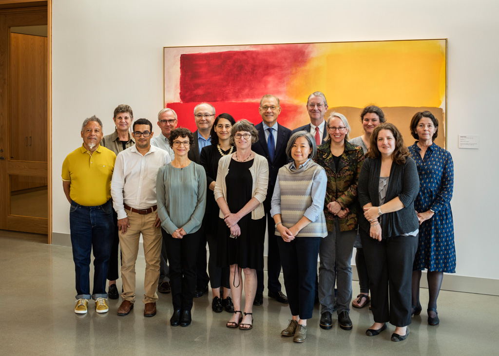 Members of the Museum of Fine Arts, Houston, conservation department with director Gary Tinterow inside the Sarah Campbell Blaffer Foundation Center for Conservation by Lake|Flato Architects. Left to right: Bert Samples, Karen Willis, Ivan Reyes Garcia, Steve Pine, Maite Leal, Toshi Koseki, Esmar Sullivan, Jane Gillies, Gary Tinterow, Tina Tan, David Bomford, Corina Rogge, Ingrid Seyb, Melissa Gardner, and Zahira Bomford. Photograph © Richard Barnes
