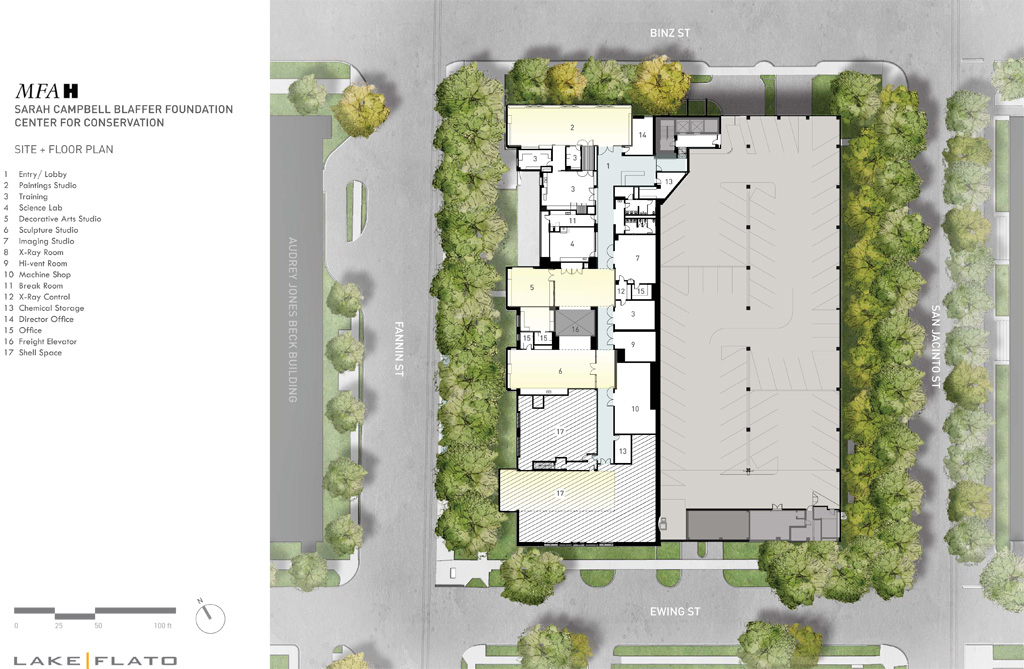 The Sarah Campbell Blaffer Foundation Center for Conservation Floor Plan. Courtesy of Lake|Flato.