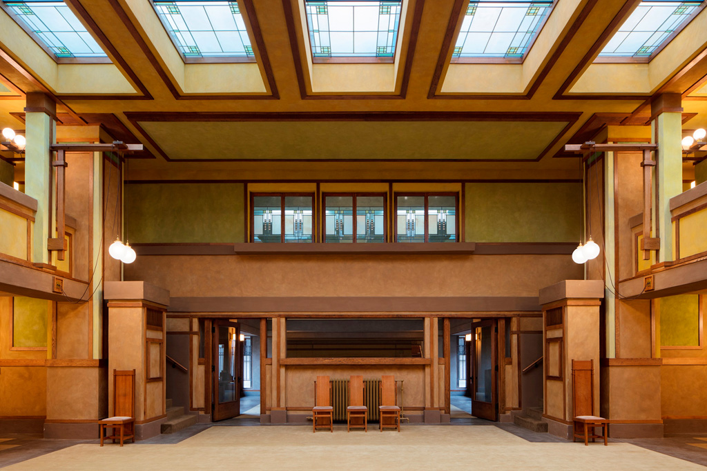 Frank Lloyd Wright's Unity Temple in Oak Park, Illinois. Courtesy of the World Monuments Fund