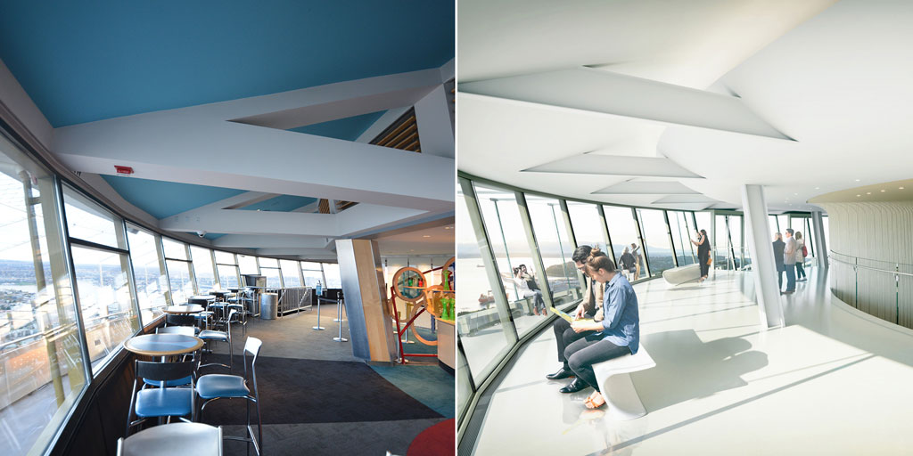 Before and After: Interior 520-foot observation level. Courtesy of Space Needle LLC and Olson Kundig.