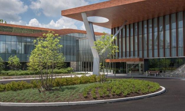 Biophilic design of Philadelphia's Asplundh Cancer Pavilion features Linetec's wood grain finish