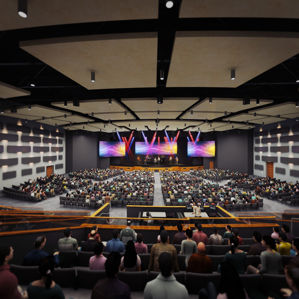 2,000-seat sanctuary designed to accommodate the River of Life Christian Church's steady growth. Courtesy of Stantec