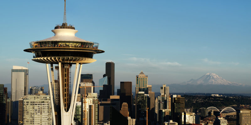 Newly-renovated Space Needle and downtown Seattle. Courtesy of Chad Copeland/Space Needle LLC
