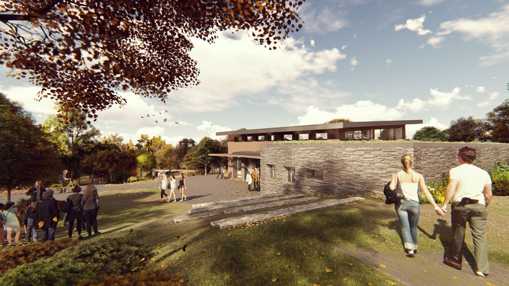 Ashley McGraw Architects is designing Nuthatch Hollow, an environmental classroom and research facility for Binghamton University in New York. The design team is aiming for both Living Building Challenge and Passive House certification. Rendering courtesy of Ashley McGraw Architects