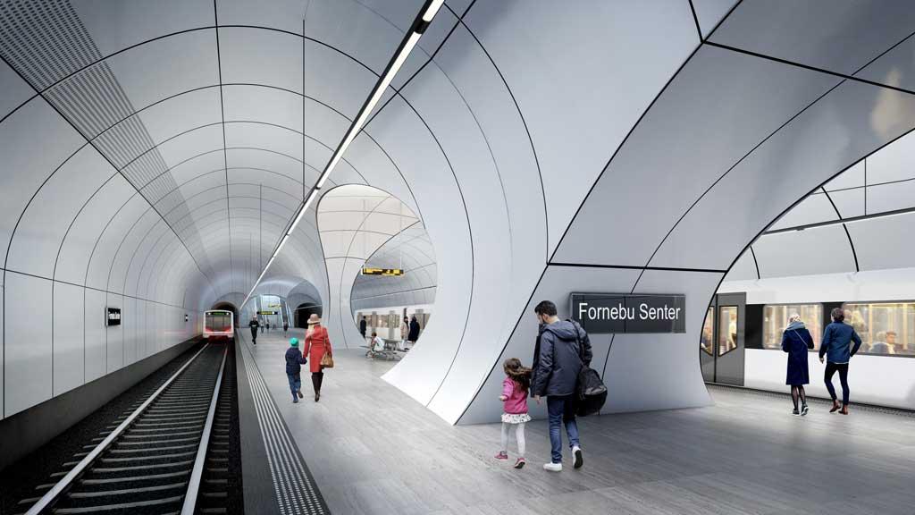 Fornebu Senter Station Platforms. Credit: ©Render by VA