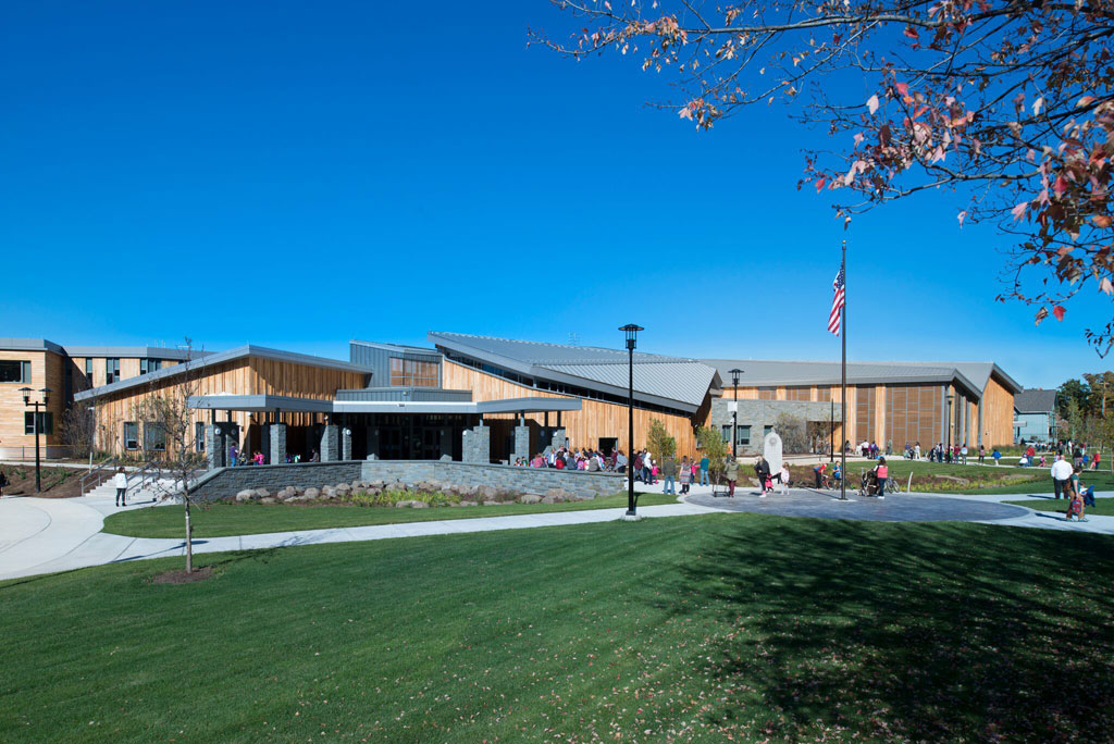 After the existing MacArthur Elementary School in Binghamton, NY, was destroyed by flooding in 2011, Ashley McGraw Architects designed a new school that is sustainable and resilient. Photo: John Griebsch Photography