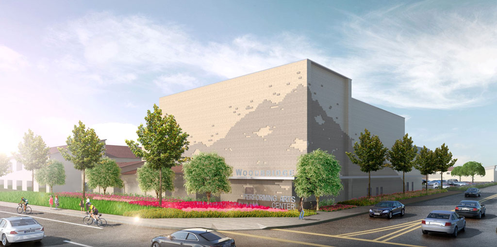 Rendering of new Performing Arts Center at Irvine Unified School District's Woodbridge High School in California, courtesy SVA Architects.
