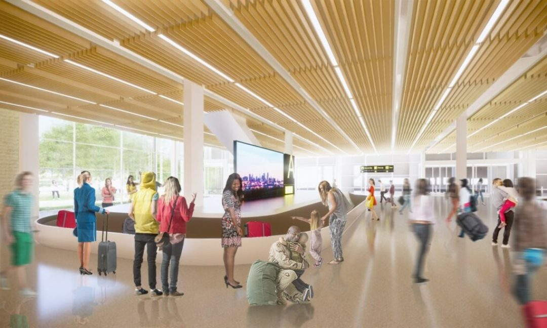 Rendering of KCI new terminal baggage claim hall. Rendering credit: Skidmore, Owings & Merrill