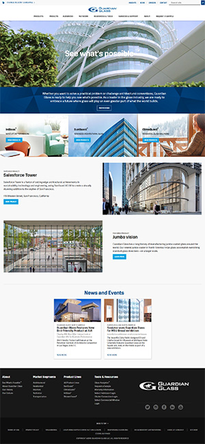 The new home page of guardianglass.com delivers improved navigation and a variety of content and imagery for the company's diverse audiences.