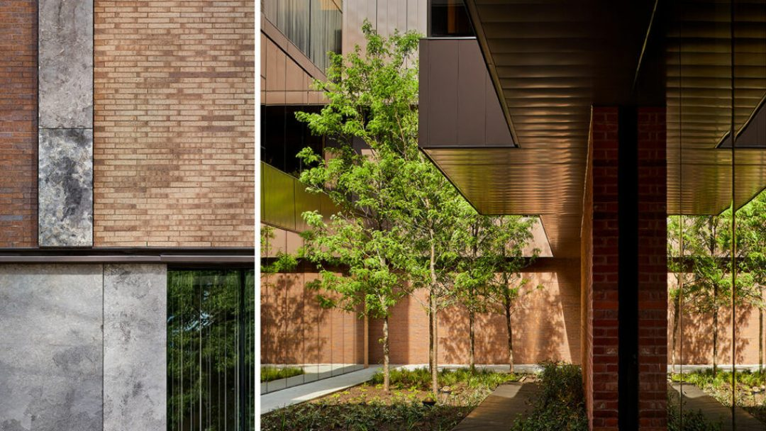 Beautifully landscaped and alive, the courtyard is the ever-present symbol of life-affirming green, water, and light and is visible from every corridor and in-patient room. Photo: Doublespace Photography