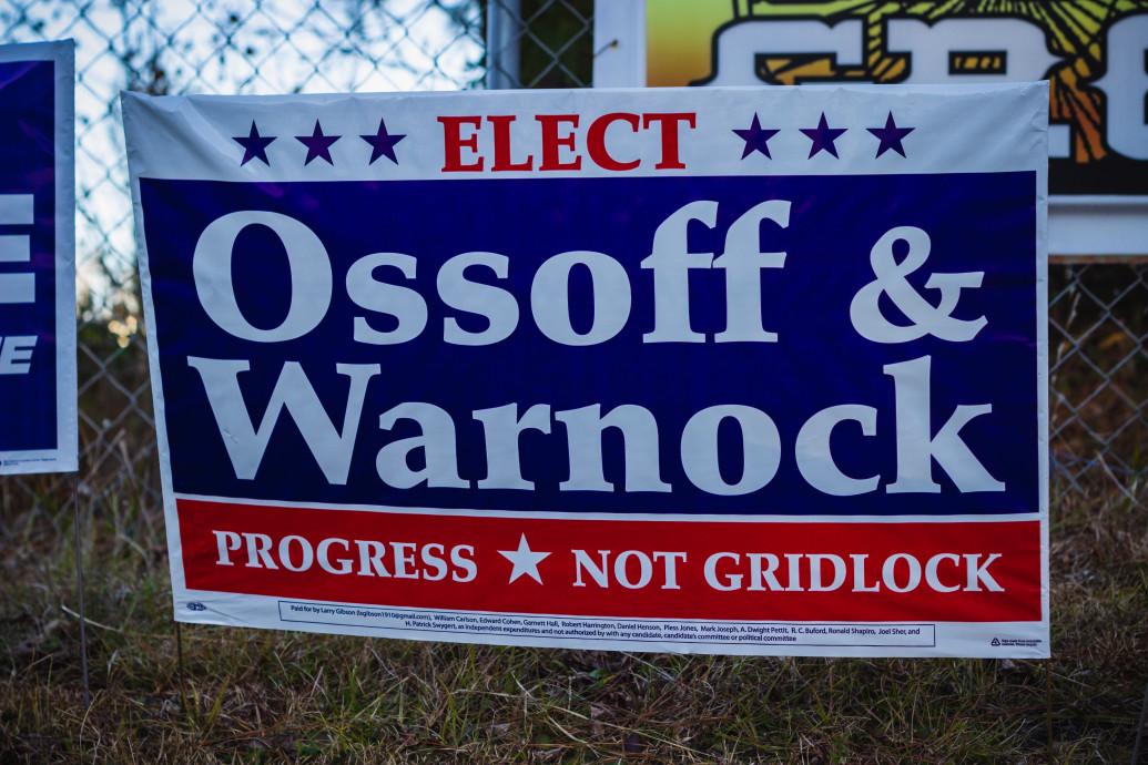 Ossoff and Warnock yard sign