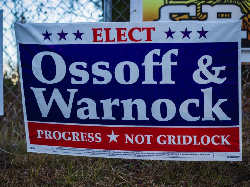 Ossoff and Warnock yard sign