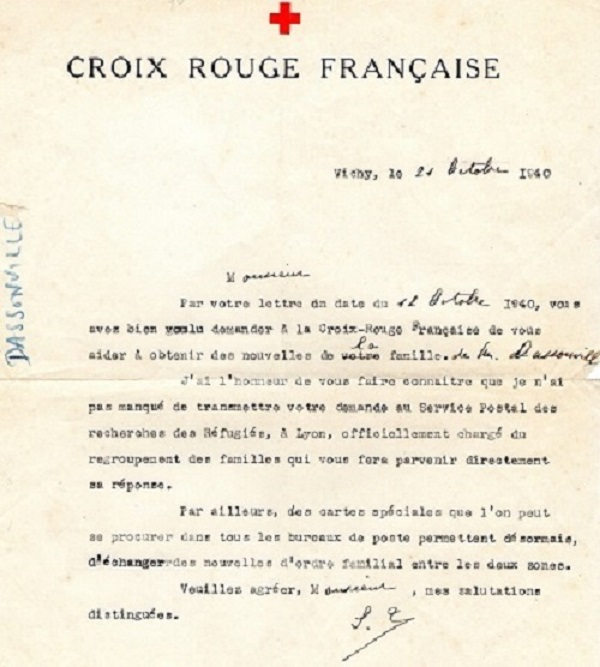 réponse à demande de renseignements 1940 carte croix rouge Française vichy