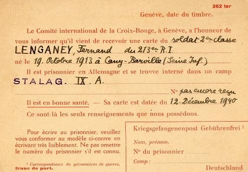 demande de renseignements 1940 carte croix rouge internationale Genève