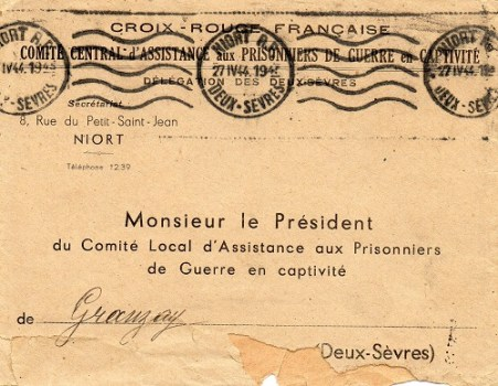 Croix Rouge Française comité central aux prisonniers de guerre en captivité 1944