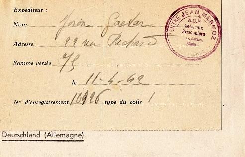 organisme d'aide aux prisonniers de guerre centre Jean Mermoz colonel de la rocque