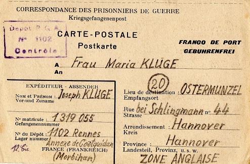 prisonnier de guerre allemand en France après 1945 1102 rennes annexe de Coetquidan