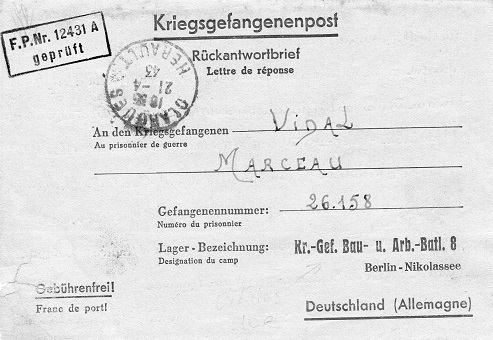 bataillon de travailleurs n°8 Berlin 1943 feldpost 12431 A