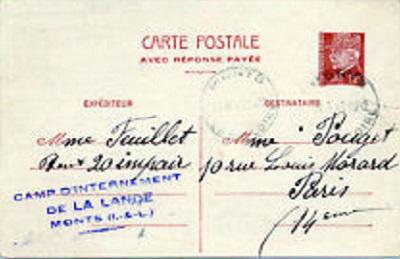 camp d'internement de la Lande à Monts (ile et vil)