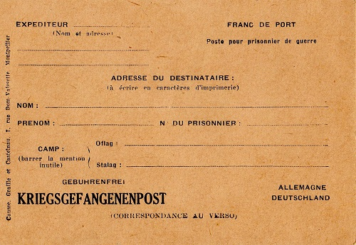 carte vierge de correspondance pour prisonniers de guerre