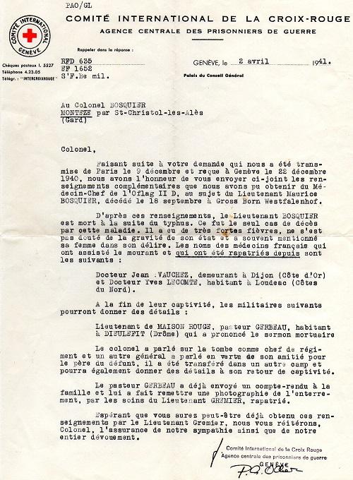 déclaration de décès par la croix rouge internationale de Genève