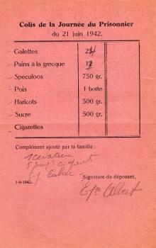 composition envoi colis journée du prisonnier de guerre 1942