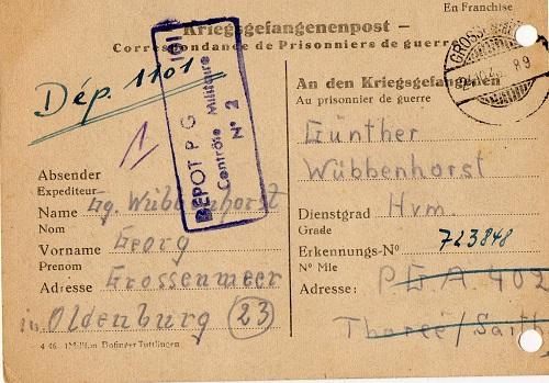prisonnier de guerre allemand en France après 1945 Thorée 402